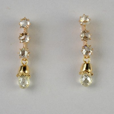 CHARMING GENUINE VICTORIAN 1.60 CT BRIOLETTE DIAMONDS & MORE DROP EARRINGS!