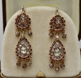 RARE GENUINE GEORGIAN 2.60 CT ROSE CUT DIAMOND SPECTACULAR DROP EARRINGS!