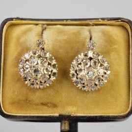 GORGEOUS GENUINE VICTORIAN 1.30 CT ROSE CUT DIAMOND SWEET DROP EARRINGS 1900!