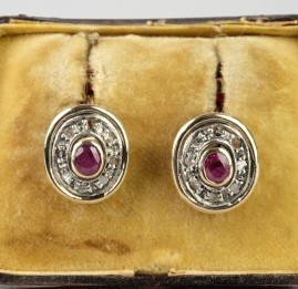 SWEET PAIR OF NATURAL RUBY & DIAMOND VINTAGE DROP EARRINGS!