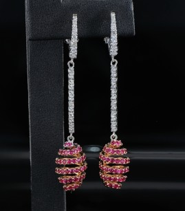 SPECTACULAR REAL RUBY & MICRODIAMOND LONG DROP SPIRAL EARRINGS