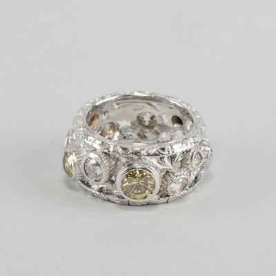 SPECTACULAR 2.35 CT. FANCY DIAMOND PLATINUM VINTAGE ETERNITY RING!