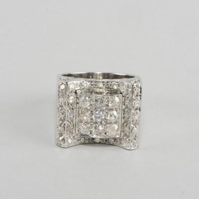 WOW! AMAZING ART DECO 1.50 CT OLD CUT DIAMOND ANTIQUE BUCKLE RING!