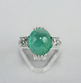 MAGNIFICENT 9.0 CT EMERALD PRINCESS DIAMOND VINTAGE TRILOGY RING!