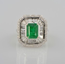 SPECTACULAR 2,75CT COLOMBIAN EMERALD & 3.00CT EXTRA DIAMONDS HIGH END RING!