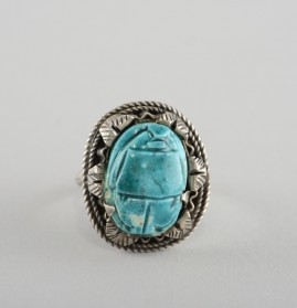 4694469546964697    SPECTACULAR GEORGIAN SOLID SILVER FAIENCE SCARAB RING 1800!