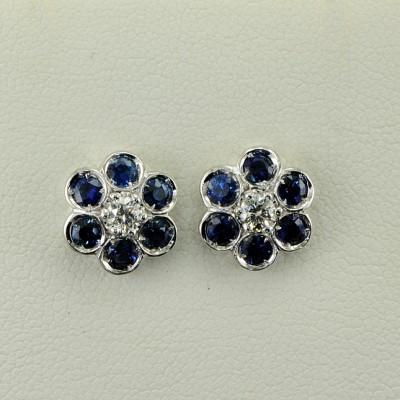 18KT EXQUISITE BLUE SAPPHIRE & DIAMOND FLOWER EARRINGS