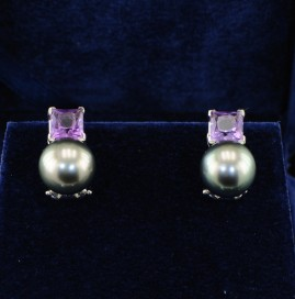 BLACK SOUTH SEA PEARLS & AMETHYST EARRINGS -LOOK!