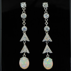 SENSATIONAL OPAL & DIAMOND VINTAGE DROP EARRINGS
