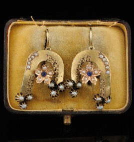RARE GENUINE VICTORIAN 14KT BABY PEARL RARE EARRINGS