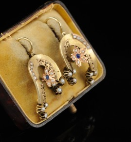 VICTORIAN 14KT BABY PEARL STONE RARE EARRINGS