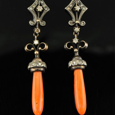 VICTORIAN DELIGHT SALMON CORAL DIAMOND DROP EARRINGS