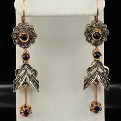 VICTORIAN STYLE DIAMOND and SAPPHIRE SWING EARRINGS