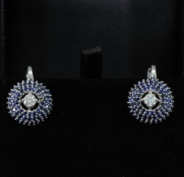 SENSATIONAL 4.0 CT NATURAL SAPPHIRE .50 CT DIAMOND HIGH CLASS EARRINGS