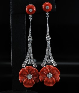 CORAL FLOWERS & DIAMOND LONG CHARMING EARDROPS - RARE
