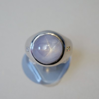 FANTASTIC 13.40 CT NATURAL STAR SAPPHIRE & DIAMOND UNISEX VINTAGE RING!