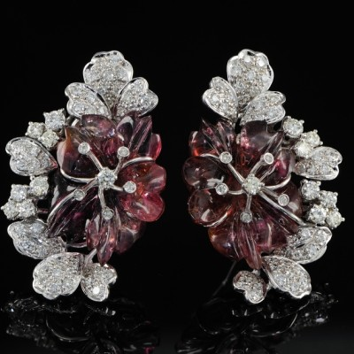 Spectacular Carved Melon Tourmaline 3.10 Carat Diamond Rare Flower Earrings