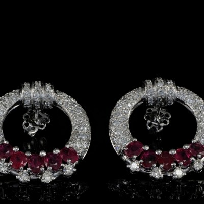 ONE OFF PAIR OF RUBY and DIAMOND EARRINGS