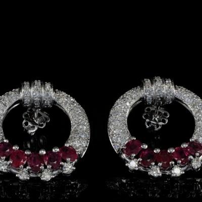 Spectacular Ruby and Diamond Vintage Hoop Earrings