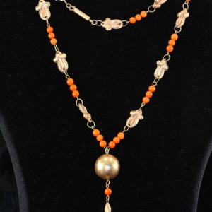 VICTORIAN RARE 9KT GOLD SALMON CORAL NECKLACE