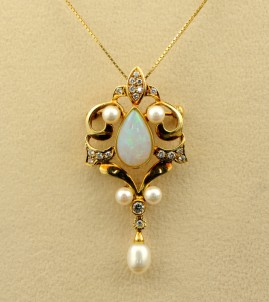 SPECTACULAR OPAL DIAMOND BROOCH-PENDANT NECKLACE
