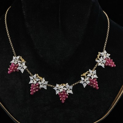 SOPHISTICATE RUBY and DIAMOND EXCLUSIVE RETRO GRAPE NECKLACE