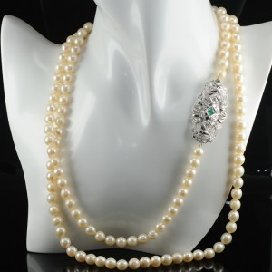 SPECTACULAR EMERALD and DIAMOND CLASP ANTIQUE LONG PEARL NECKLACE