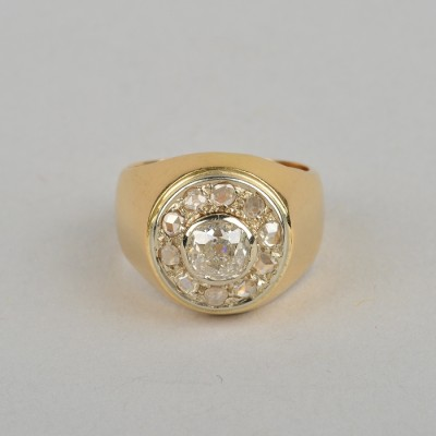 GLORIOUS GENUINE VICTORIAN 1.05 CT OLD CUT DIAMOND UNISEX RING!