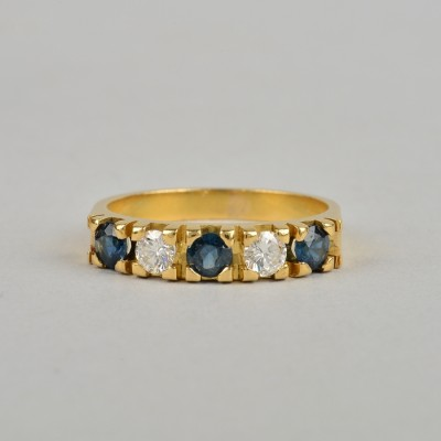 SPECTACULAR 1.30 Ct F IF DIAMOND SAPPHIRE VINTAGE FIVE STONE RING!
