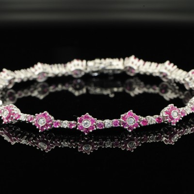 VINTAGE 7.55CT RUBY and DIAMOND FLORET BRACELET