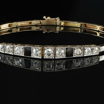 EXCELLENT ART DECO 2.30 CT OLD CUT DIAMOND RIVIERE BRACELET -PLAT/18KT