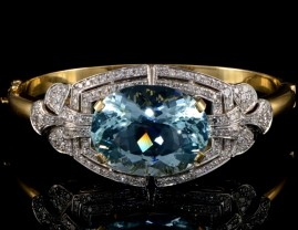 SPECTACULAR 39.00 CARATS NATURAL AQUAMARINE 2.90 DIAMOND HEIRLOOM BANGLE!