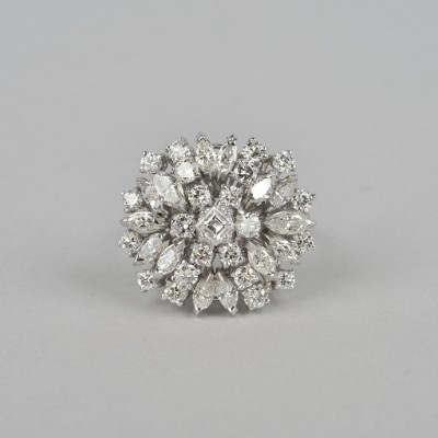 EXCEPTIONAL 3.55 CT G VVS DIAMOND VINTAGE COCKTAIL RING!