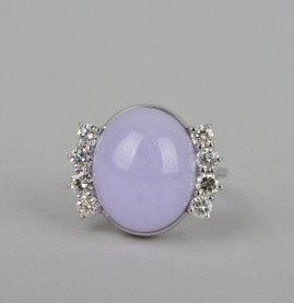 FANTASTIC 26.0 CT NAT. LAVENDER JADE G VVS 1.0 CT TOP QUALITY DIAMONDS VINTAGE RING!