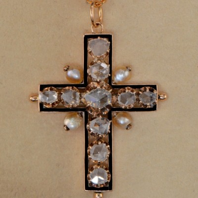 EXTRAORDINARY 3.50 CT ROSE CUT DIAMONDS RARE REGENCY CROSS!