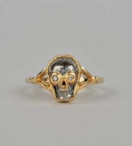 Sensational vintage memento mori diamond skull ring