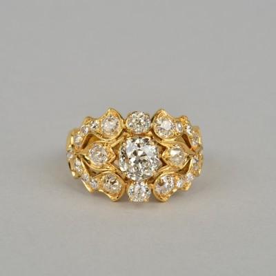 STUNNING ANTIQUE 2.75 CT OLD CUT DIAMOND SIGNED VENTRELLA ROME UNIQUE RING!