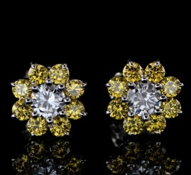 SUPERIOR QUALITY CANARY YELLOW AND TOP WHITE RARE 2.63CT DIAMOND DAISY EARRINGS