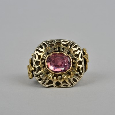 A RARE 16 TH CENTURY NATURAL RUBY GOLD & SILVER BIG RING!