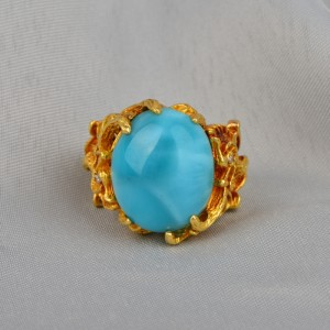 SPECTACULAR 30.0 CT NAT TURQUOISE & DIAMOND PRE 1940 RARE GRIFFIN RING!