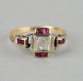 VICTORIAN DISTINCTIVE DIAMOND SOLITAIRE & RUBY BUCKLE RING