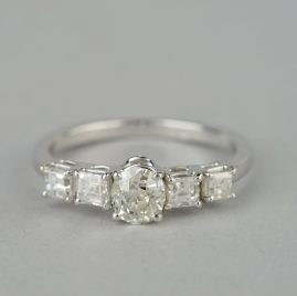 SENSATIONAL VICTORIAN 1.20 CT OLD CUT DIAMOND BIG CENTRE FIVE STONE RING!