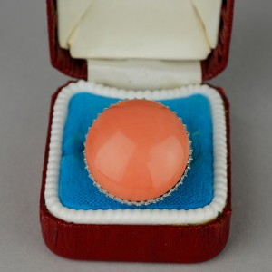 APPEALING 1960 JUMBO SIZED NATURAL SALMON CORAL & DIAMOND RING!