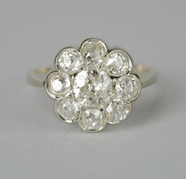 AN OUTSTANDING GENUINE ART DECO 2.20 CT OLD CUT DIAMOND BEST CLUSTER RING!