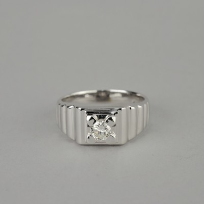 SENSATIONAL VINTAGE SIGNED DINACCI SOLITAIRE DIAMOND GENT RING!