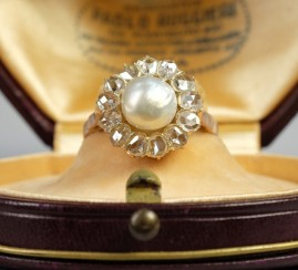 AN EXCELLENT VICTORIAN NATURAL ORIENTAL PEARL 1.50 CT OLD DIAMOND RING!