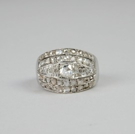 SPECTACULAR ART DECO 2.20 CT ROSE CUT DIAMOND RARE WIDE RING 20'S!