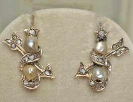 ROMANTIC VICTORIAN NATURAL PEARL & ROSE CUT DIAMOND HARROW EARDROPS 1860!