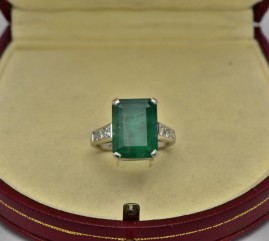 TERRIFIC 9.50 CT EMERALD 1.10 CT DIAMOND VINTAGE SOLITAIRE RING!