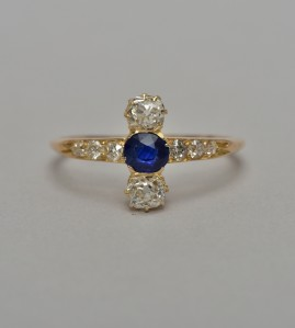 EXQUISITE VICTORIAN .55 CT KASHMIR OR BURMA .96 CT OLD MINE DIAMOND RARE RING!
